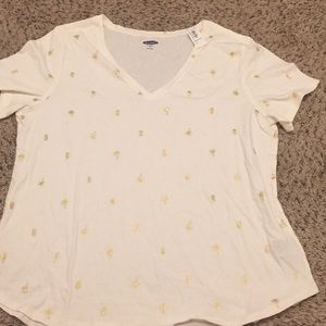 Pineapple and palm tree tee women's XL NWT